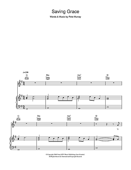 Pete Murray Saving Grace sheet music notes and chords. Download Printable PDF.