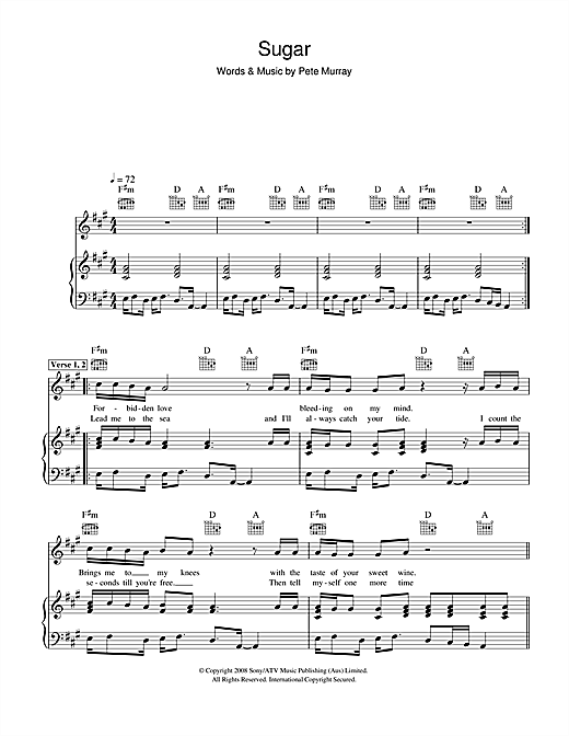 Pete Murray Sugar sheet music notes and chords. Download Printable PDF.