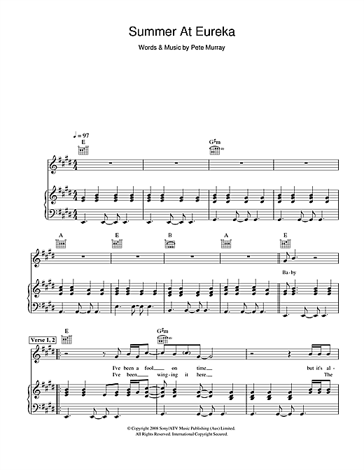 Pete Murray Summer At Eureka sheet music notes and chords. Download Printable PDF.