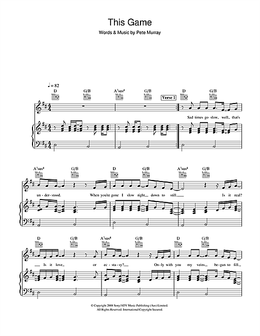 Pete Murray This Game sheet music notes and chords. Download Printable PDF.