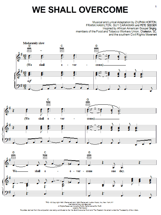 Pete Seeger We Shall Overcome sheet music notes and chords. Download Printable PDF.