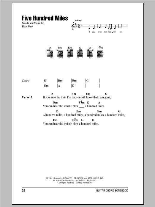 Peter, Paul & Mary Five Hundred Miles sheet music notes and chords. Download Printable PDF.
