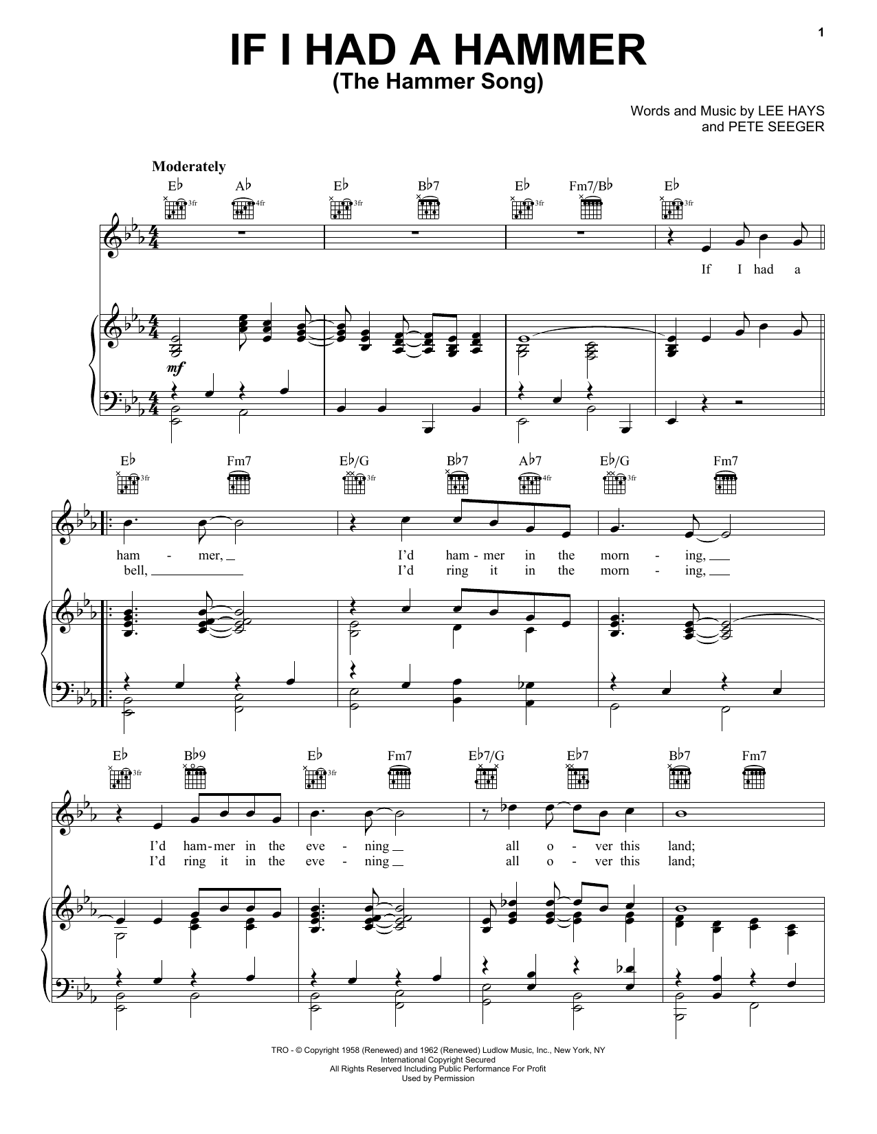 Peter, Paul & Mary If I Had A Hammer (The Hammer Song) sheet music notes and chords. Download Printable PDF.