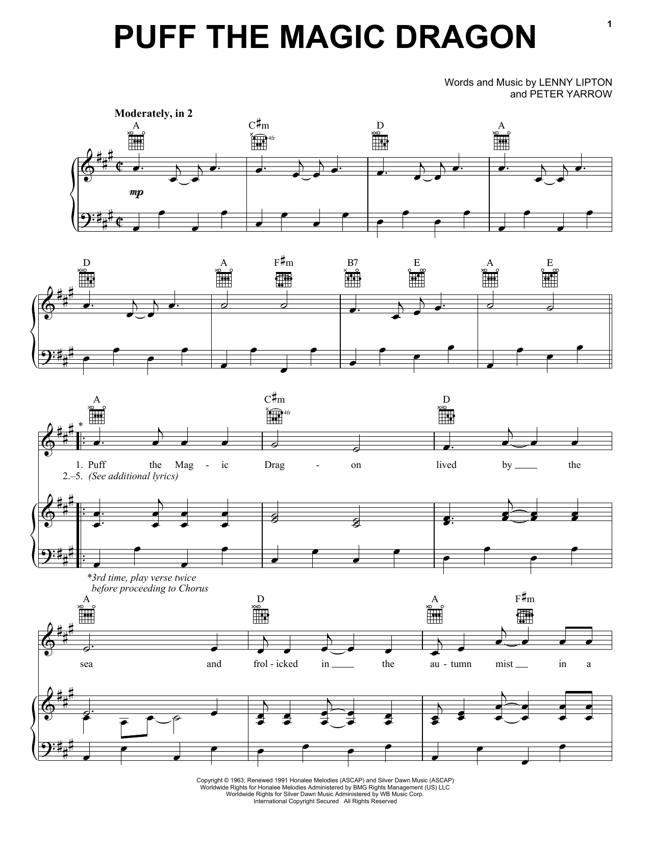 Peter, Paul & Mary Puff The Magic Dragon sheet music notes and chords