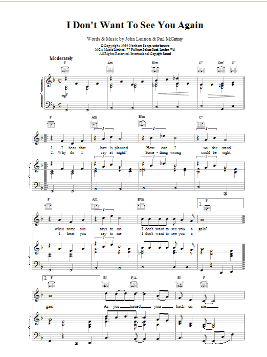 The Beatles I Don't Want To See You Again sheet music notes and chords. Download Printable PDF.