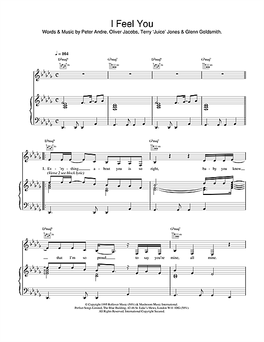 Peter Andre I Feel You sheet music notes and chords. Download Printable PDF.
