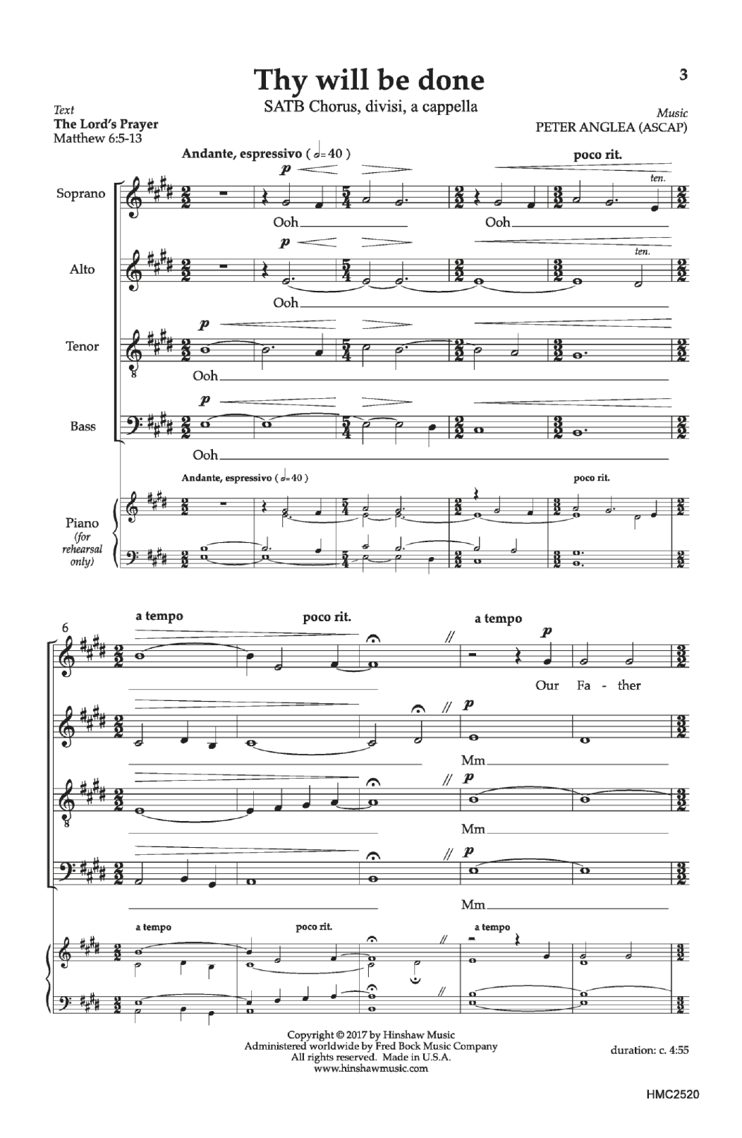Peter Anglea Thy Will Be Done sheet music notes and chords. Download Printable PDF.