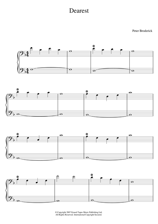 Peter Broderick Dearest sheet music notes and chords. Download Printable PDF.