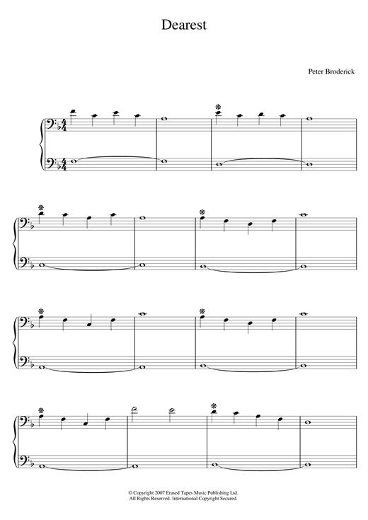 Peter Broderick Dearest sheet music notes and chords