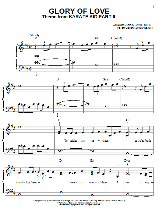 Peter Cetera Glory Of Love sheet music notes and chords. Download Printable PDF.