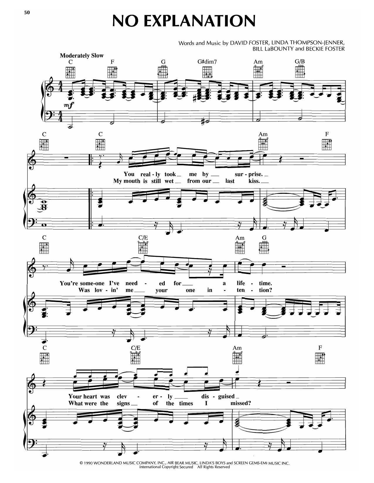 Peter Cetera No Explanation (from Pretty Woman) sheet music notes and chords