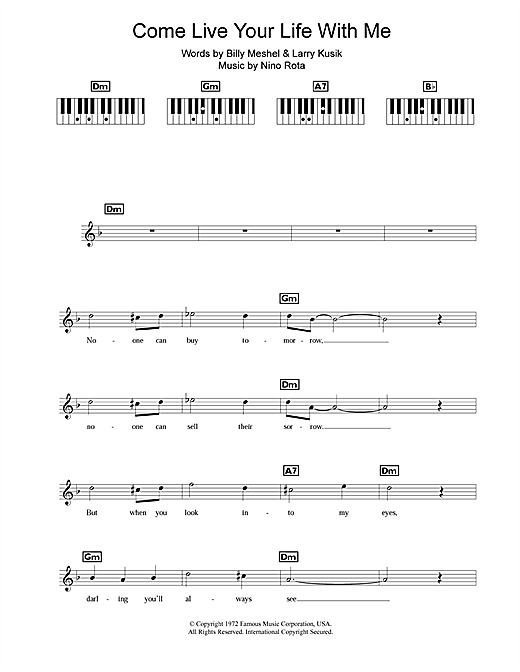 Peter Cincotti Come Live Your Life With Me sheet music notes and chords