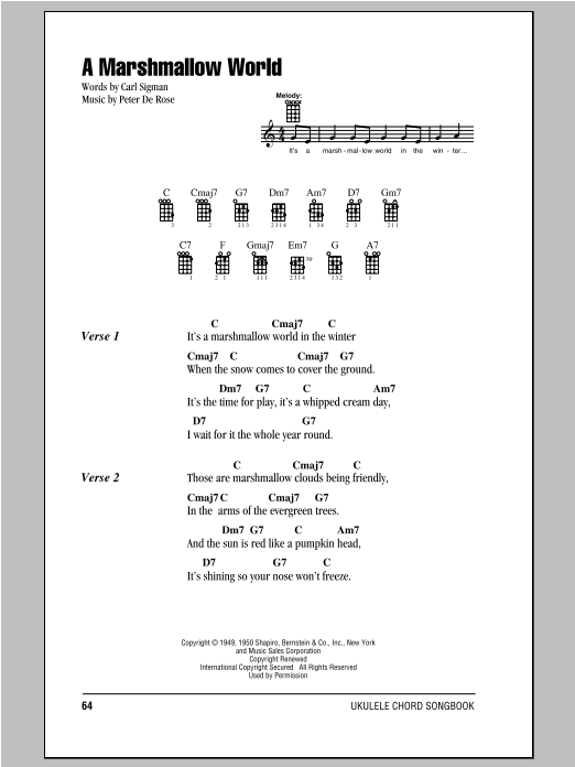 Peter De Rose A Marshmallow World sheet music notes and chords. Download Printable PDF.