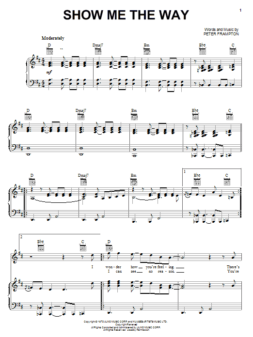 Peter Frampton Show Me The Way sheet music notes and chords