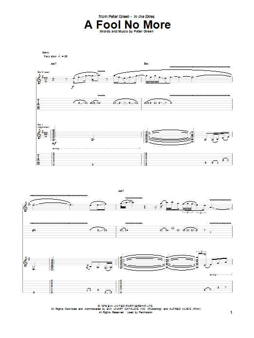 Peter Green A Fool No More sheet music notes and chords. Download Printable PDF.