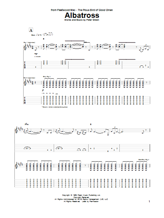 Peter Green Albatross sheet music notes and chords. Download Printable PDF.