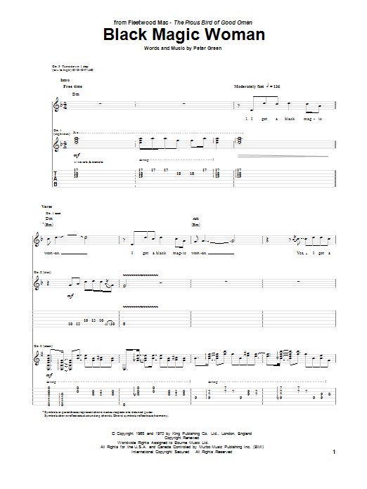 Peter Green Black Magic Woman sheet music notes and chords. Download Printable PDF.