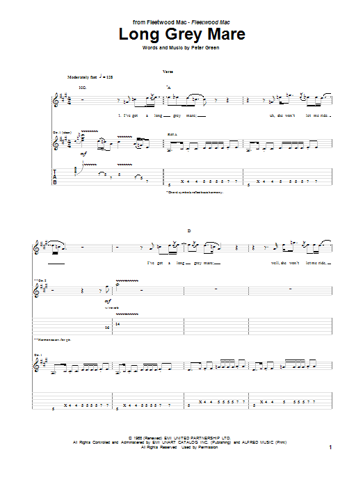 Peter Green Long Grey Mare sheet music notes and chords. Download Printable PDF.