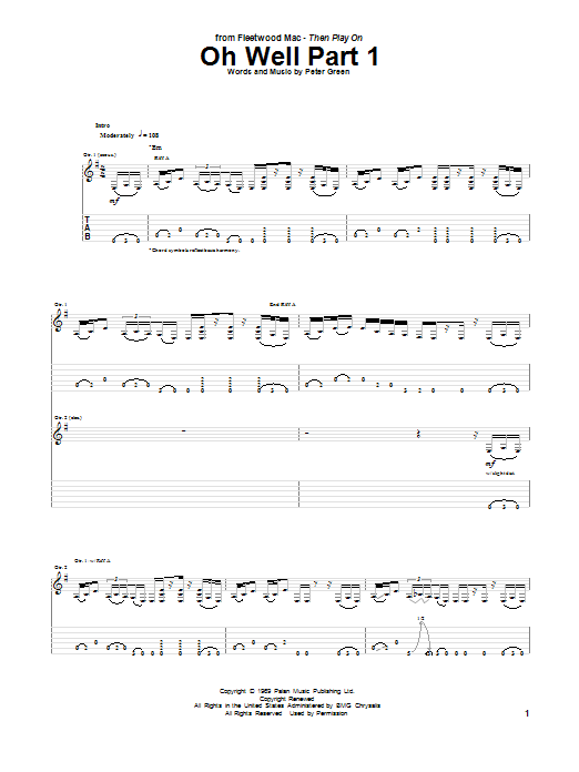 Peter Green Oh Well Part 1 sheet music notes and chords. Download Printable PDF.