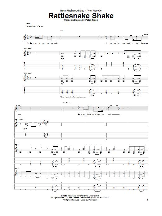 Peter Green Rattlesnake Shake sheet music notes and chords. Download Printable PDF.