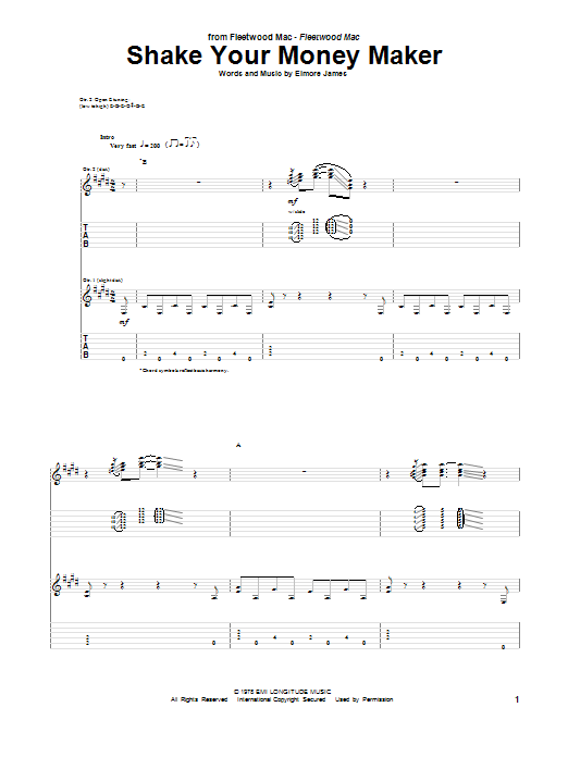 Peter Green Shake Your Money Maker sheet music notes and chords. Download Printable PDF.