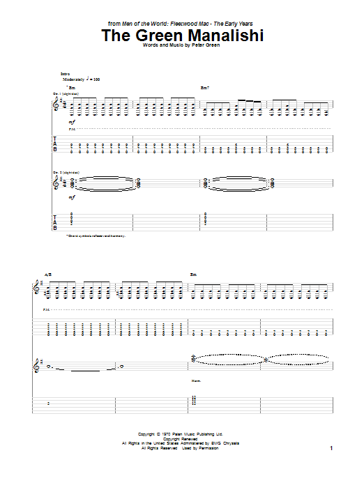 Peter Green The Green Manalishi sheet music notes and chords. Download Printable PDF.