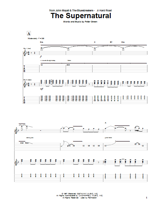 Peter Green The Supernatural sheet music notes and chords. Download Printable PDF.