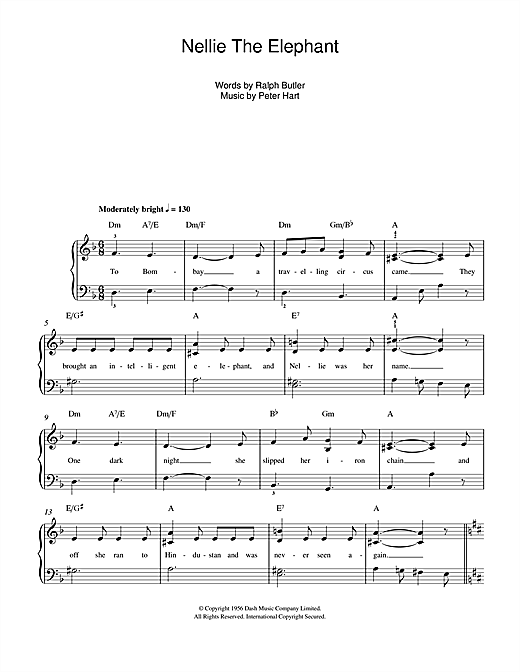Peter Hart Nellie The Elephant sheet music notes and chords