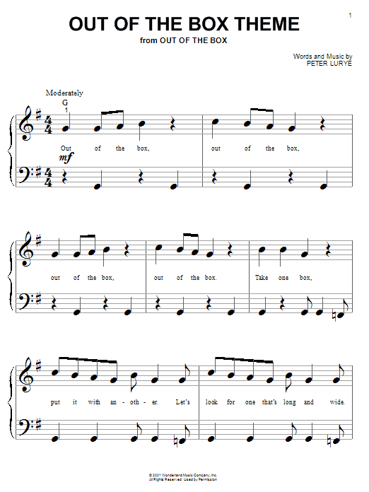 Peter Lurye Out Of The Box Theme sheet music notes and chords. Download Printable PDF.