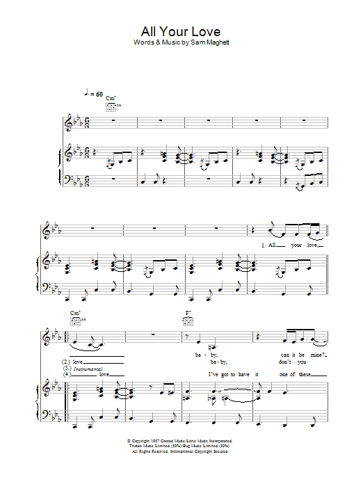 Peter Malick & Norah Jones All Your Love sheet music notes and chords. Download Printable PDF.