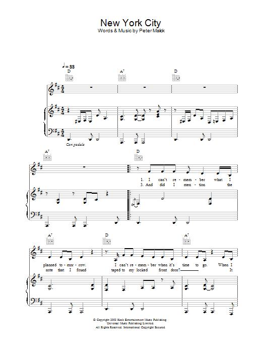Peter Malick & Norah Jones New York City sheet music notes and chords. Download Printable PDF.