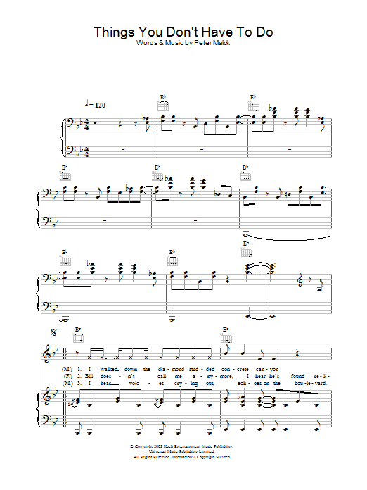 Peter Malick & Norah Jones Things You Don't Have To Do sheet music notes and chords. Download Printable PDF.