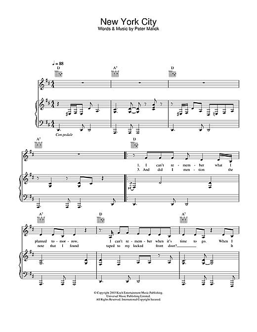 Peter Malick & Norah Jones New York City sheet music notes and chords