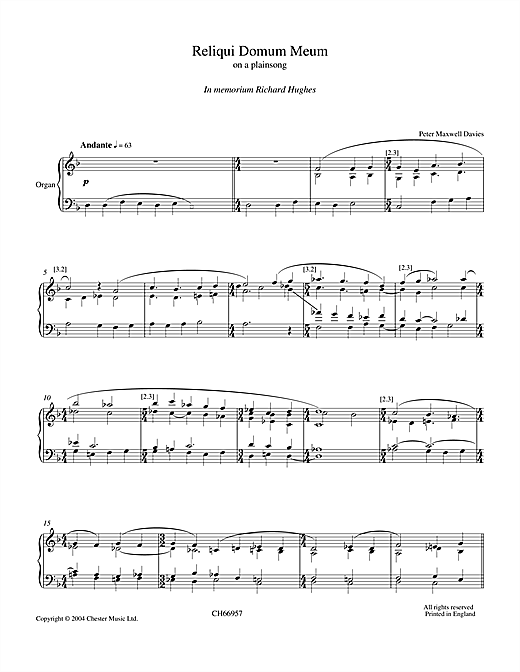 Peter Maxwell Davies Reliqui Domum Meum sheet music notes and chords