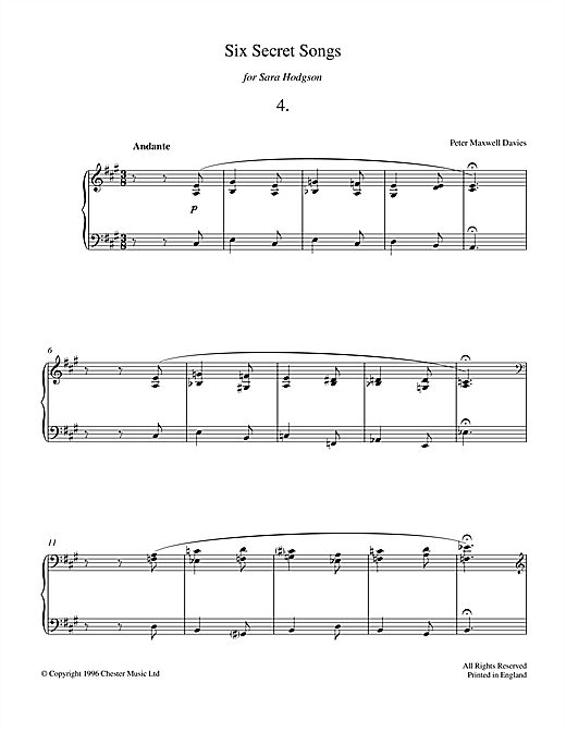 Peter Maxwell Davies Six Secret Songs, No.4, Andante sheet music notes and chords. Download Printable PDF.