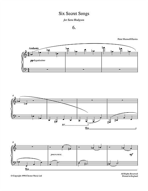Peter Maxwell Davies Six Secret Songs, No.6, Andante sheet music notes and chords. Download Printable PDF.