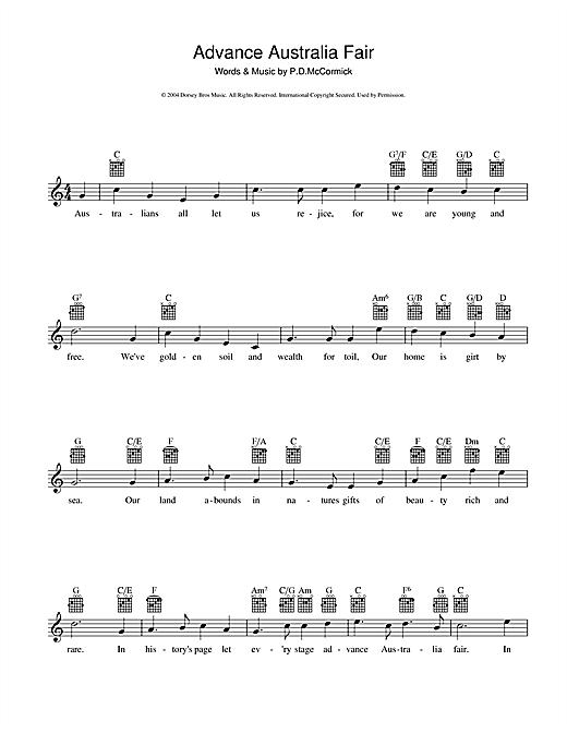 Peter McCormick Advance Australia Fair (Australian National Anthem) sheet music notes and chords. Download Printable PDF.
