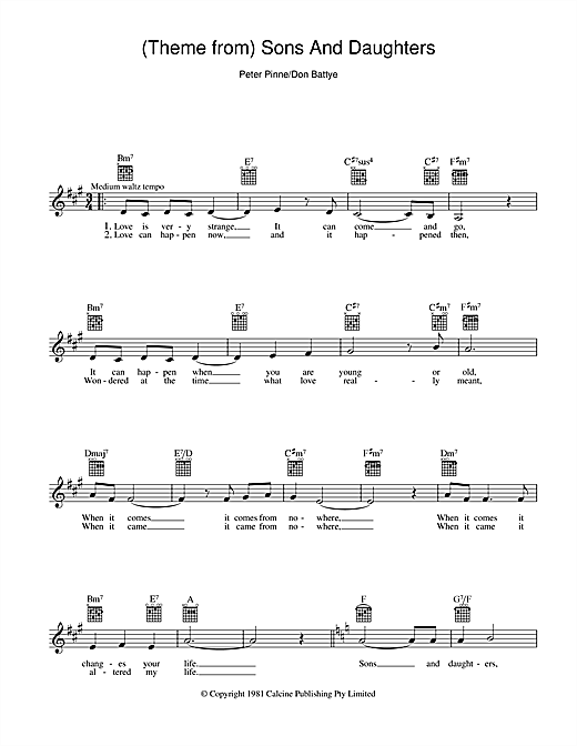 Peter Pinne Theme From Sons And Daughters sheet music notes and chords. Download Printable PDF.