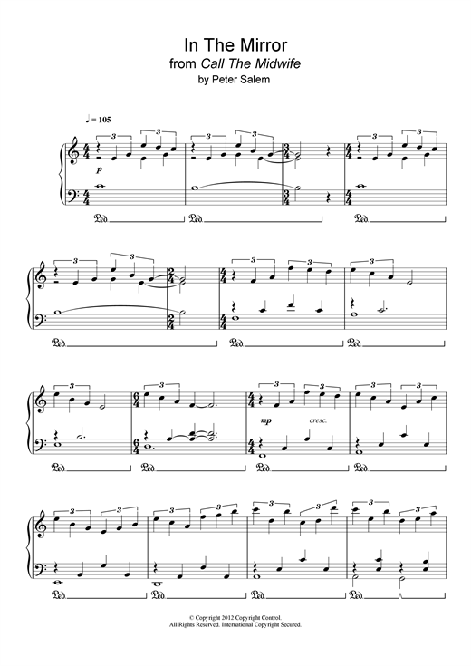 Peter Salem In The Mirror (from 'Call The Midwife') sheet music notes and chords. Download Printable PDF.
