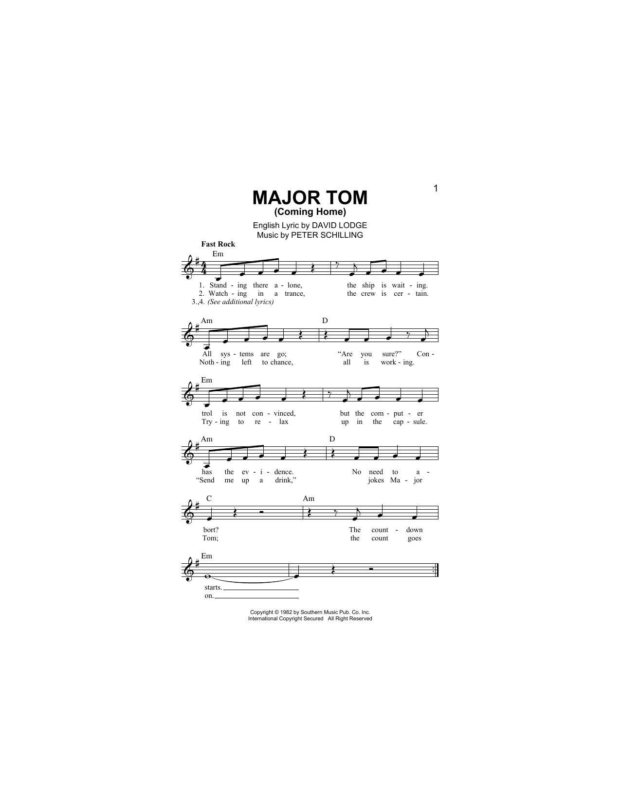 Peter Schilling Major Tom Coming Home Sheet Music Notes, Chords    Download Printable Lead Sheet / Fake Book PDF Score   SKU 15