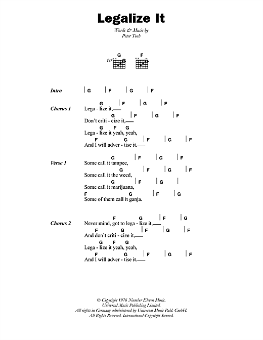 Peter Tosh Legalize It sheet music notes and chords. Download Printable PDF.