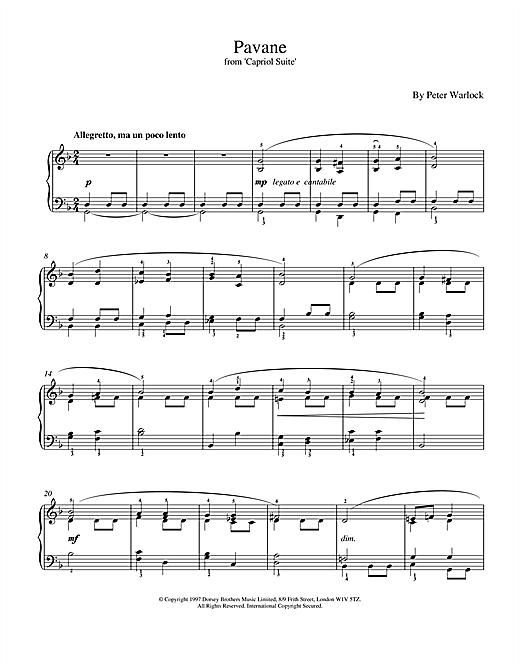 Peter Warlock Pavane sheet music notes and chords