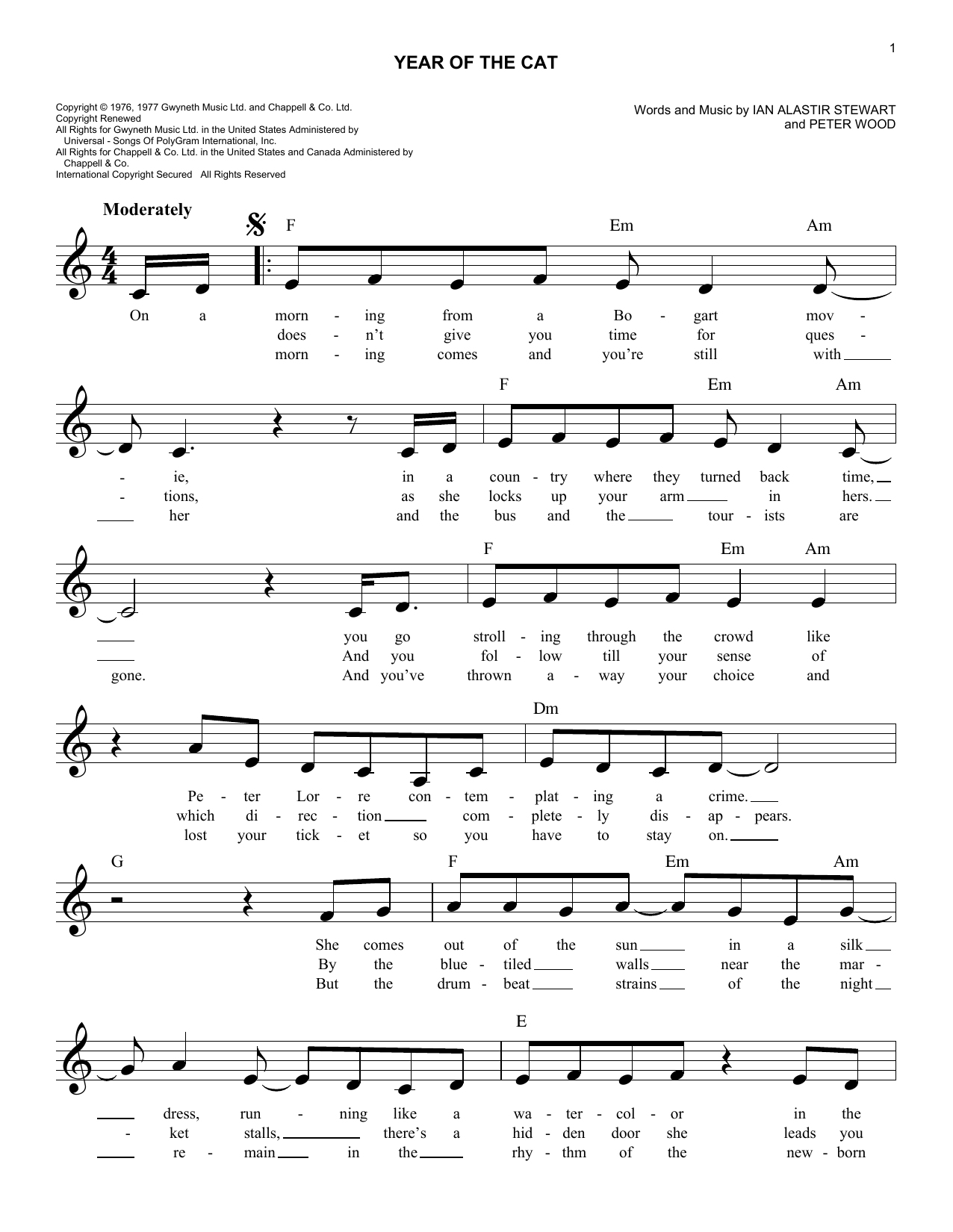 Peter Wood Year Of The Cat sheet music notes and chords. Download Printable PDF.
