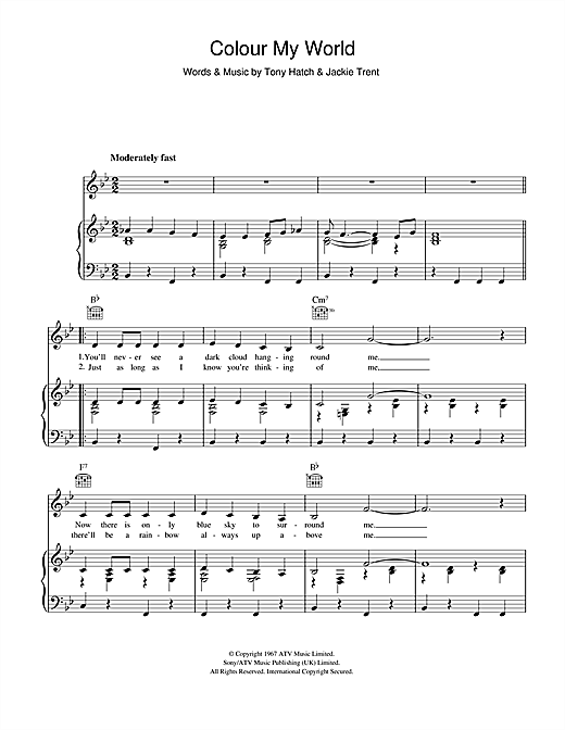 Petula Clark Colour My World sheet music notes and chords. Download Printable PDF.