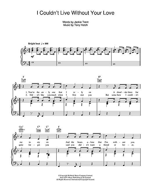 Petula Clark I Couldn't Live Without Your Love sheet music notes and chords. Download Printable PDF.