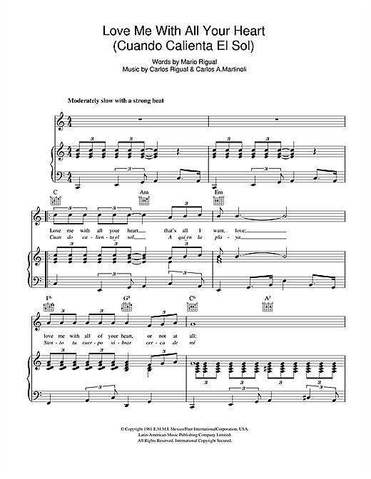 Petula Clark Love Me With All Your Heart (Cuando Calienta El Sol) sheet music notes and chords. Download Printable PDF.