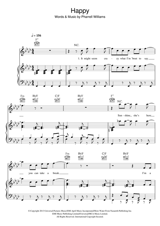 Pharrell Williams Happy sheet music notes and chords. Download Printable PDF.