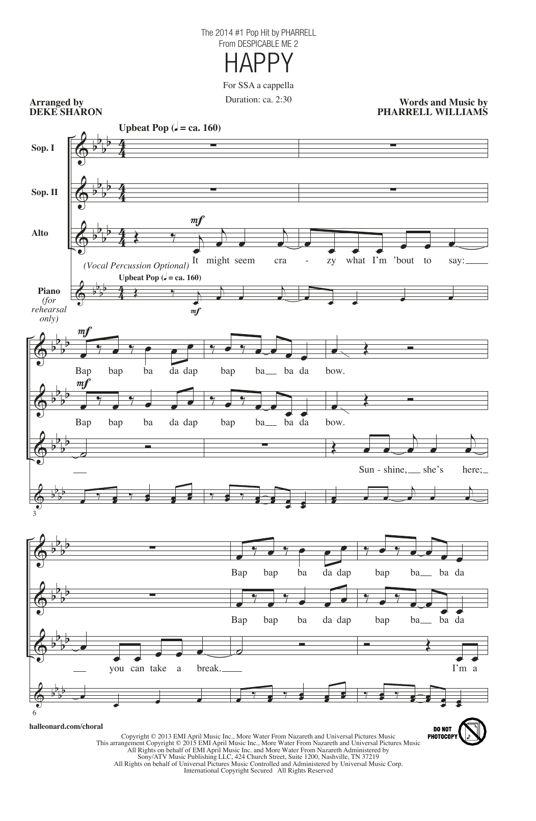 Pharrell Williams Happy (arr. Deke Sharon) sheet music notes and chords. Download Printable PDF.