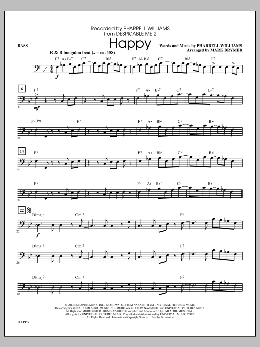 Pharrell Williams Happy (arr. Mark Brymer) - Bass sheet music notes and chords. Download Printable PDF.