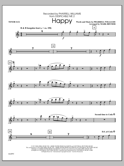 Pharrell Williams Happy (arr. Mark Brymer) - Tenor Sax sheet music notes and chords. Download Printable PDF.